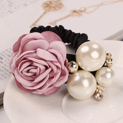 Women Lady Satin Ribbon Rose Flower Pearls Hairband Ponytail Holder Hair Band