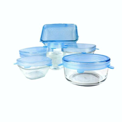 Pack of 6 Silicone stretch lids Blue color stretchable food storage covers New