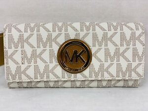 921aded02919cf Image is loading Michael-Kors-PVC-MK-Signature-Fulton-Flap-Continental-