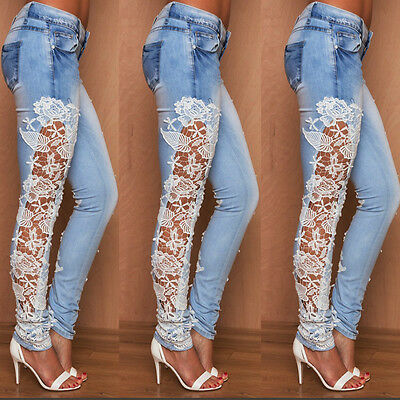 Sexy Womens Slim Fit Skinny Lace Crochet Jeans Size 6 8 10 12 14 Designer Denim
