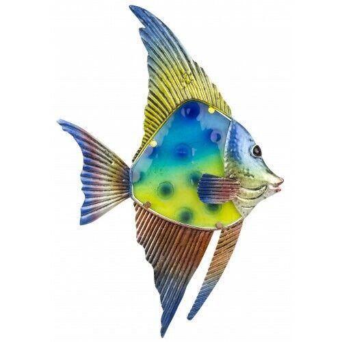 Pendaison Décoration murale en verre et métal Reef Fish-Nautique Plaque Signe