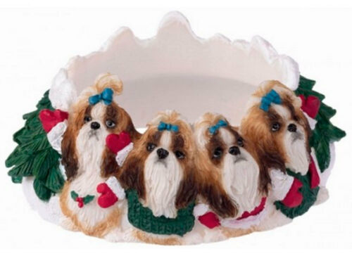 Shih Tzu Holiday Candle Topper Ring Tan