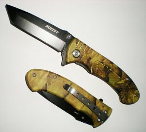 "7 3/4"" Black Tanto Blade Assisted Opening Green Camo Pocket Knife Grip Handle Dans Beaucoup De Styles"