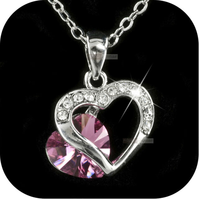 18K WHITE GOLD GF MADE WITH PINK SWAROVSKI CRYSTAL HEARTS PENDANT NECKLACE