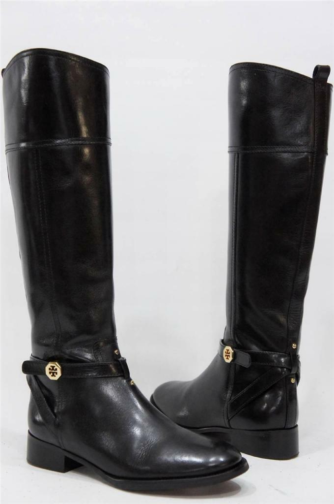 TORY BURCH BRITA RIDING BLACK  LEATHER BOOTS  SHOES 8 $495