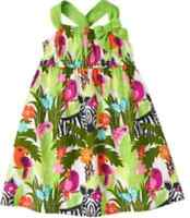 Gymboree Wild For Zebra Parrot Jungle Print Dress 3-6 Months