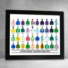 Horse Racing Epsom Derby Winners 1980-2019 Flat Racing Colours Framed Print