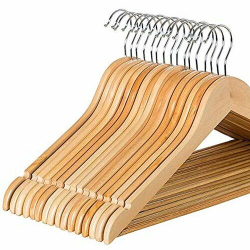 Wooden Clothes Hangers High Quality Natural Wood 20 Pack
