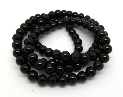 145 Beads Approx J08878XF Black Glass Pearl 6mm Round Beads One Strand