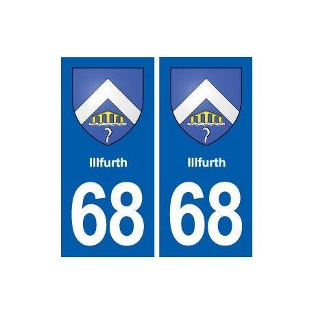 68 Illfurth blason autocollant plaque stickers ville arrondis