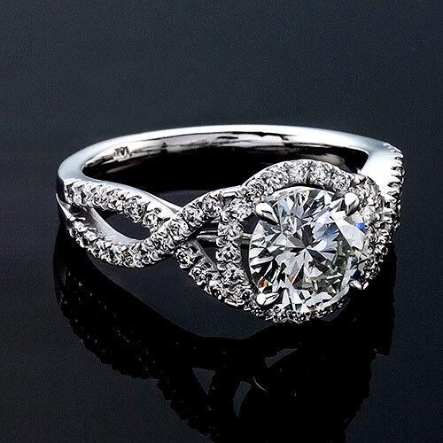 Halo 1 Carat D SI Diamond Engagement Ring Round Cut 14K White gold