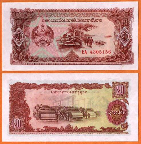 2 Tank,soldiers,boats.Textile factory LAOS ND UNC 20 Kip Banknote P- 28a 1979
