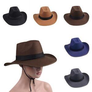 Women Men Hard Felt Cowboy Caps Western Cowgirl Panama Hat ...