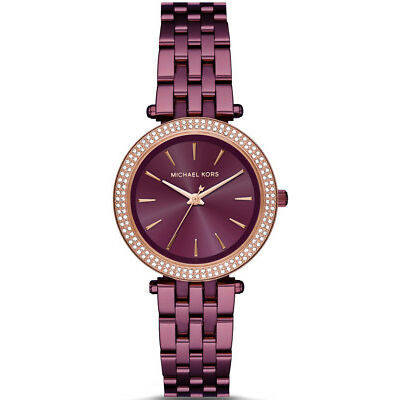 NEW Michael Kors MK3725 Darci Plum Tone Rose Gold Dial bezel Ladies Wrist Watch