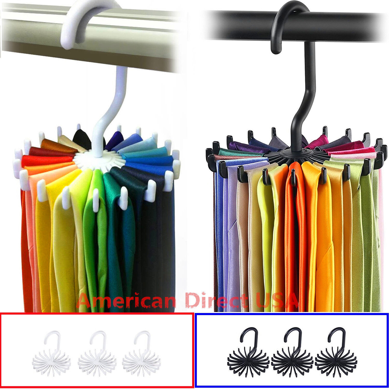 Adjustable 360° Rotating 20 Hook Neck Ties Organizer Men Tie Rack Hanger Holder