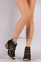 BLACK CAGED STRAPPY OPEN TOE Booties Shoes Stacked Heels Ankle Peep BOHO 5-10
