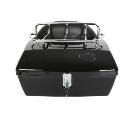 Hard Motorcycle Trunk Luggage Case Tail Box W//Backrest For Harley Yamaha Suzuki