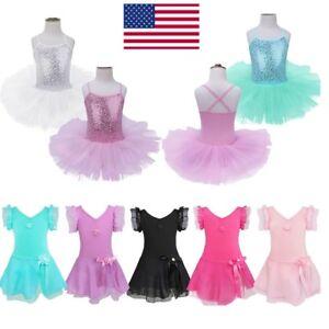 US-Kids-Girls-Ballerina-Costume-Skirt-Ballet-Dance-Leotard-Tutu-Dress-Dancewear