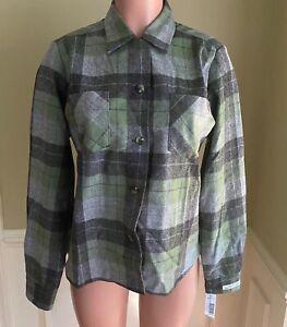 Pendleton-Womens-Shirt-Jacket-Tuckeroo-Green-Gray-Plaid-Wool-Vintage-Fit-L-NEW