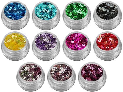 11x Donut Donuts Ring Flitter Glitter Shapes Puder Pailetten ALLE  #00542-SET
