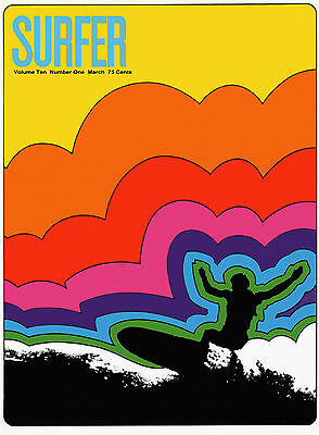 """Surfer Mag Cover, ART PRINT, Retro Surfing, 20""""x14"""" poster, VINTAGE SURF SPORTS"""