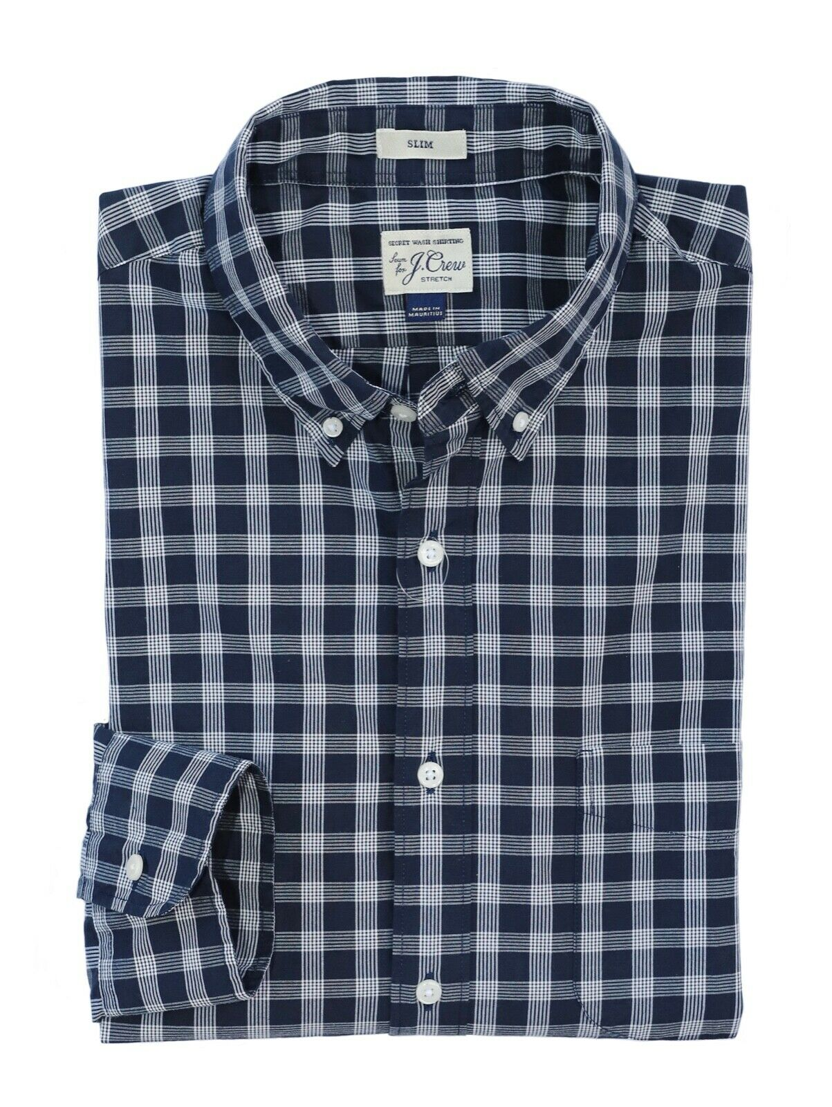 J.Crew - Men's L Slim Fit - NWT - Navy White Plaid Secret Wash Cotton Shirt