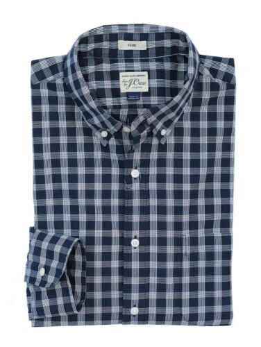 J.Crew Men's L Slim Fit NWT$69 NavyWhite Plaid Secret Wash Cotton Shirt