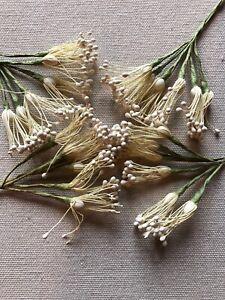 Vintage-Millinery-Flower-Creamy-White-Stamen-4-bunch-Lot-Unused-Stock-Hzi