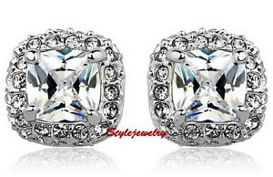 18k-White-Gold-Filled-Crystal-Wedding-Princess-Cut-Square-Stud-Earring-IE96