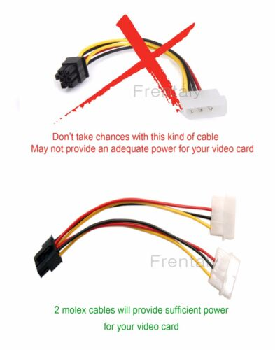 2 pcs 2X 4 Pin Molex to 6 Pin PCI Express PCIE Video Card Power Adapter Cable