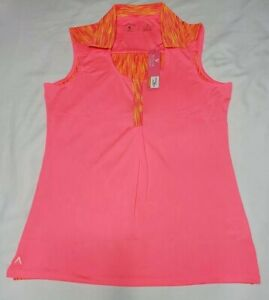 NEW-Antigua-Women-039-s-Sleeveless-Electra-Desert-Dry-Golf-Polo-Pink-Red-Size-Medium