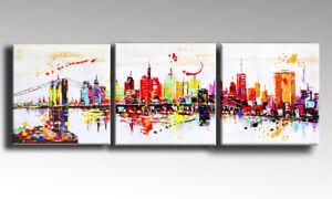 DIPINTO MODERNO ASTRATTO NEW YORK SKYLINE manhattan painting quadro ...