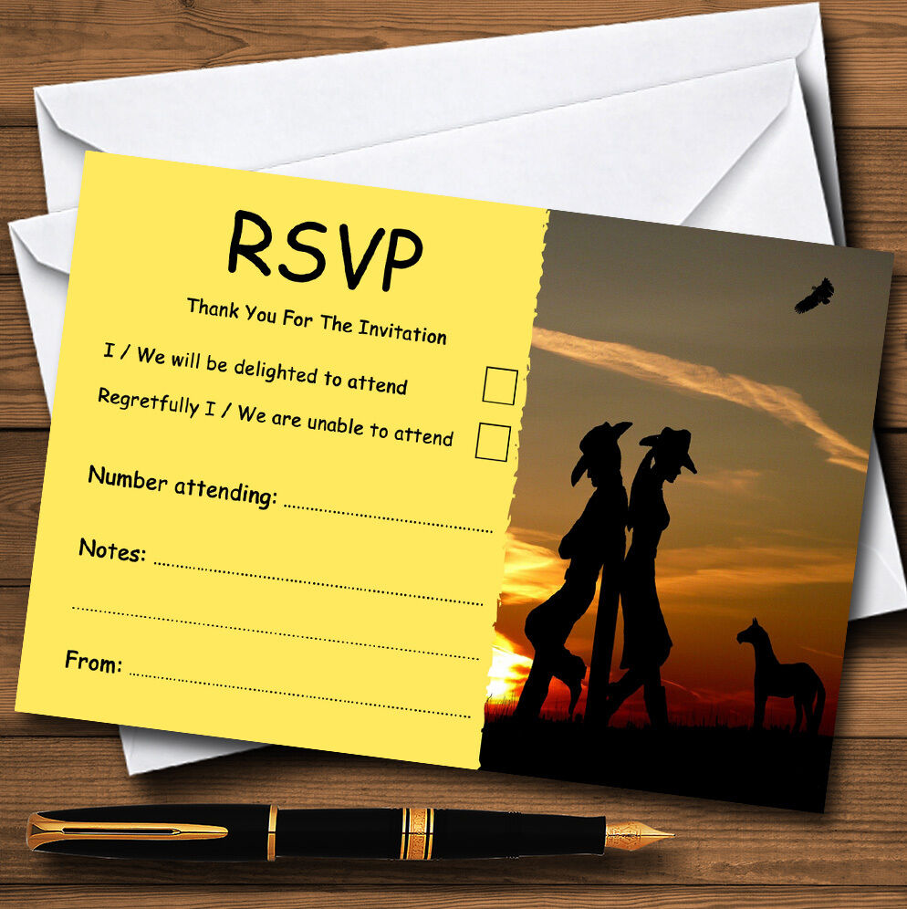 Cowboy And Cowgirl At Sunset Sunset Sunset Personalised Wedding or Party RSVP Cards a1ddf8