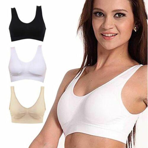 Women Seamless Gym Sports Bra Wireless Yoga Crop Top Vest Comfort Stretch S-3XL