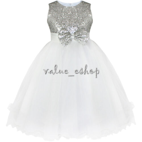 Flower Girl Sequined Dress Kids Princess Party Pageant Wedding Bridesmaid Gown