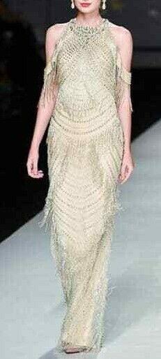 Marque de luxe nouveau glamour perles Longue robe de bal concours robe de mariage