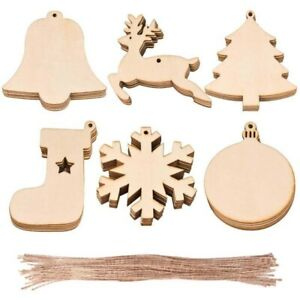 10Pcs Xmas Wooden Snowflake Laser Cut Home Christmas Tree Hanging Ornaments