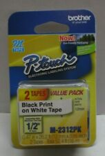 Brother P Touch Double Pack M Tape 12 Inch Black Print On White M 2312pk
