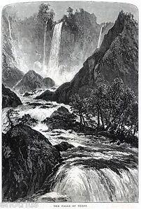 Cascata di Terni,delle Marmore. Grande Veduta. Stampa Antica + Passepartout.1878