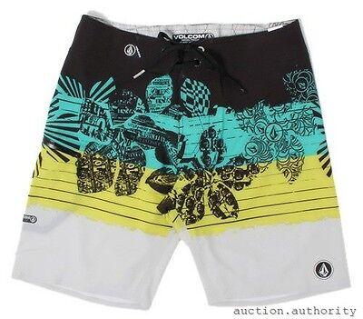 "VOLCOM LINEAR MOD BOARDSHORT 20/"" Green//Black Surf Swim Trunks NWT//NEW Mens $55"