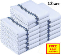 Utopia Kitchen Towels 12 Pcs Pack Absorbent Dish Towel White Set Cotton Striped