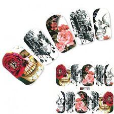 Nagel Sticker Tattoo Nail Art Totenkopf Rosen Aufkleber