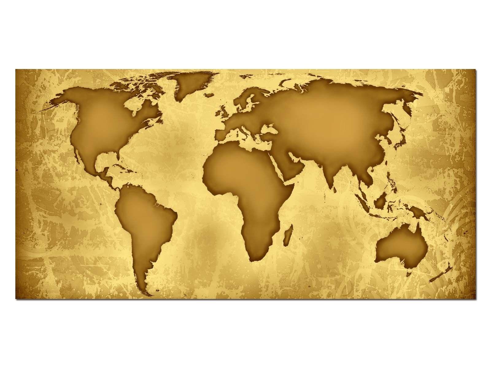 Deco Glas Bild EG4100500525 WORLDMAP ANTIQUE COLGoldt Größe 39,37  x 19,68  HD