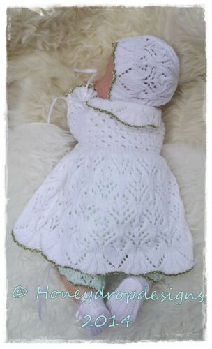 For Reborn//Baby PAPER KNITTING PATTERN Honeydropdesigns DAISY Matinee Set