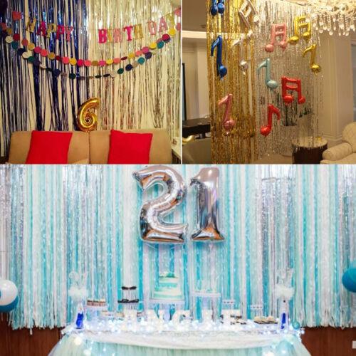 2m*1m Metallic Fringe Vorhang Party Folie Lametta Raumdeko Tür girlande Hoc L4Z7