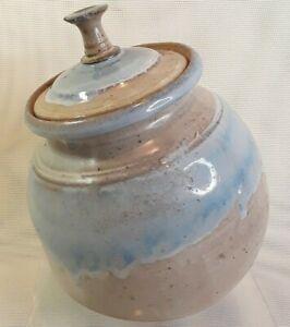 Studio Art Pottery Canister Jar Angled Drip Glaze Blue Signed With Lid Vintage