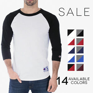 Champion-3-4-Baseball-T-Shirt-Mens-Jersey-Raglan-Color-Block-Crew-Tee-T1397