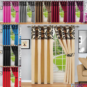 Damask Ready Made Curtain Eyelet Ring Top Heavy Lined Door Curtains with TieBack