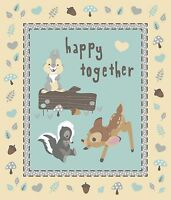 Disney Baby Bambi Happy Together Quilt Top Wall Hanging Panel Fabric 100% Cotton
