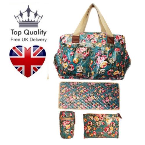 4 Piece Set Oilcloth Flower Floral Patterned Baby Changing Bag Mat Toddler UK